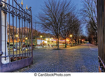 Entrance of Parc des Bastions, Geneva, Switzerland -...