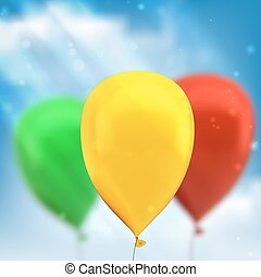 balloons - Hand holds colorful balloons isolated on white