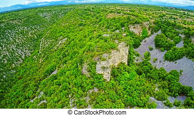 Bogocin fortress, medieval remains on a cliff - Copter...