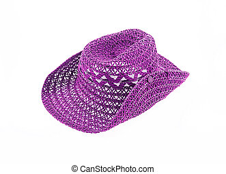 hat isolated on white background, cowboy hat purple color