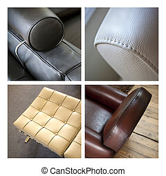 Leather seats and armchair - Collage of leather furnitures...
