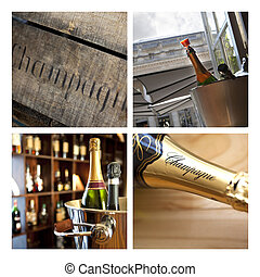 Champagne - Pictures of Champagne on a collage