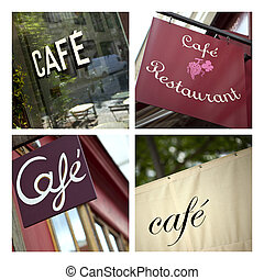 Cafe and bistro - Collage of French cafe and bistro