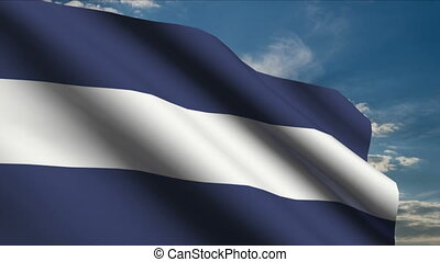 El Salvador Flag waving in wind with clouds in background