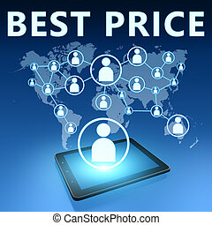 Best Price illustration with tablet computer on blue...