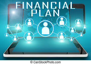 Financial Plan - text illustration with social icons and...