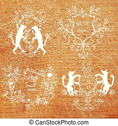 Coats of arms - hand drawn funny design on the wood background
