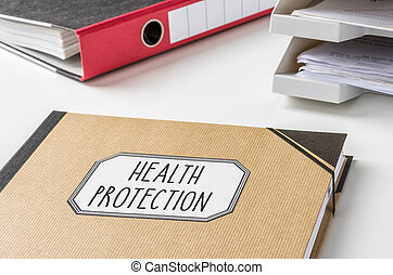 A folder with the label Health protection