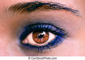 Blue Eye Makeup. Beautiful Eyes Make-up. Macro
