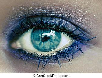 Blue Eye Makeup. Beautiful Eyes Make-up. Macro - Blue Eye...