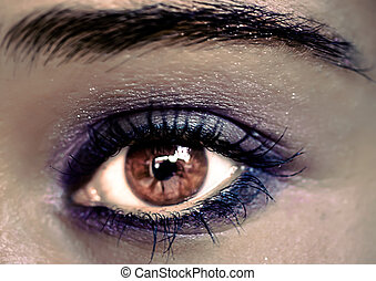 Purple Eye Makeup. Beautiful Eyes Make-up. Macro