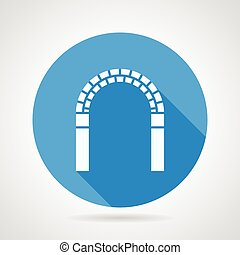 Circle vector icon for archway - Round blue flat vector icon...