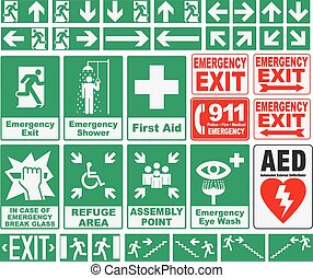 Emergency Evacuations Sings - Vector pack of different...