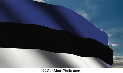 Estonian Flag waving in wind with clouds in background