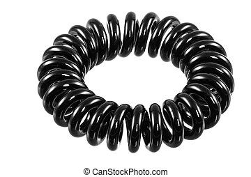Isolated Elastic Black Spiral Hari Tie - Eelastic black...