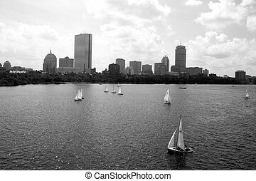 Boston - Back Bay skyline along the Charles River