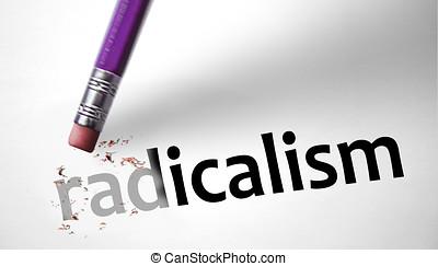 Eraser deleting the word Radicalism