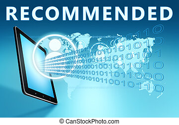 Recommended illustration with tablet computer on blue...