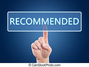 Recommended - Hand pressing Recommended button on interface...