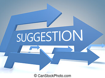 Suggestion render concept with blue arrows on a bluegrey...