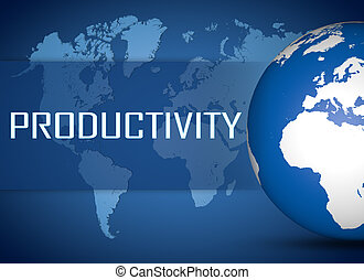 Productivity concept with globe on blue world map background