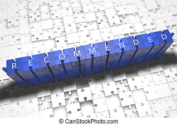 Recommended - puzzle 3d render illustration with block...