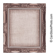 old brown frame with empty grunge linen canvas for your...