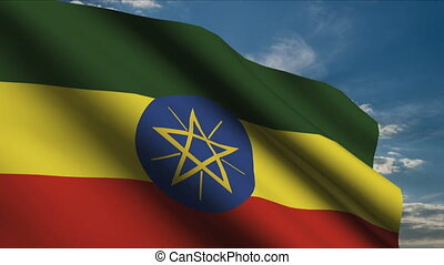 Ethiopian Flag waving in wind with clouds in background