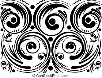 Swirls and Dots - Abstract decorative floral ornament, black...