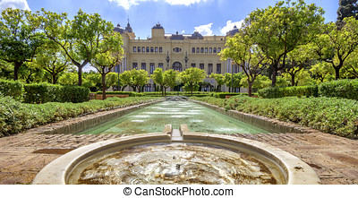 Pedro Luis Alonso gardens and the Town Hall building in...