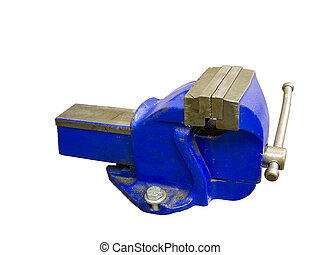 Vise - Blue table vise isolated on white background