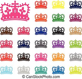 crown silhouettes - set of crown silhouettes