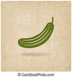 cucumber symbol old background - vector illustration. eps 10