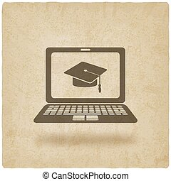 distance online learning symbol old background - vector...