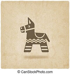 Mexican party pinata old background - vector illustration....
