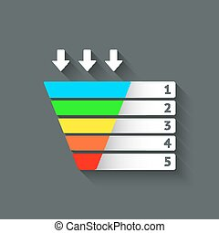 color marketing funnel symbol - vector illustration. eps 10