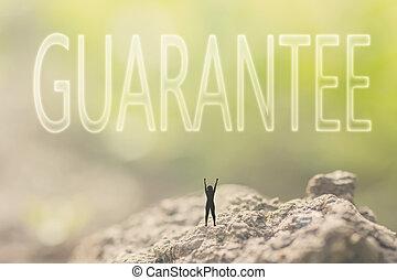 concept of guarantee - Concept of guarantee with a person...