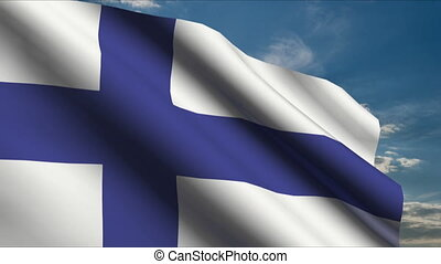 Finnish Flag waving in wind with clouds in background
