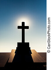 Tomb with cross on Montjuic Cemetery in Barcelona, Spain