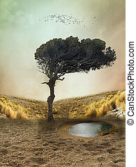 Fantasy landscape - lonely tree in a deserted fantasy...