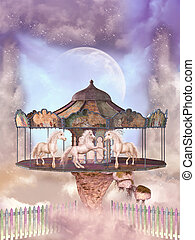 carousel in the sky with horses and floating island