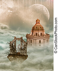 Fantasy landscape - Fantasy Landscape in the sky with castle