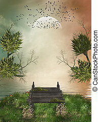Fantasy landscape - Fantasy Landscape in a lake with wood...