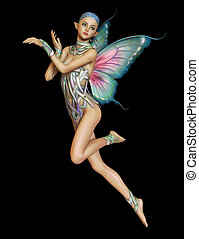 Floating Purple Fairy, 3d CG CA - 3d computer graphics of a...