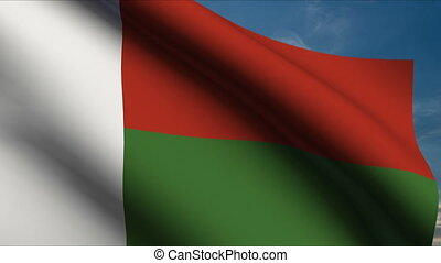 Madagascar Flag waving in wind with clouds in background