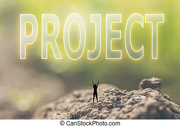 concept of plan - Concept of plan with a person stand in the...