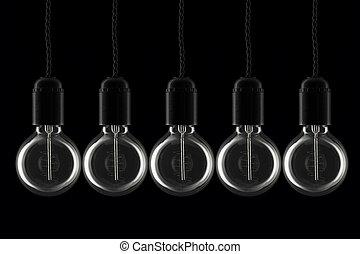 Row of lightbulbs - Vintage style lightbulbs all turned off
