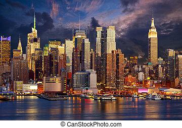 centro de la ciudad, Manhattan, contorno,