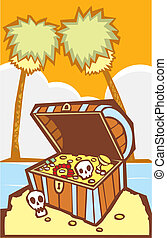 Treasure Chest with Palm trees - Pirate Treasure chest on a...