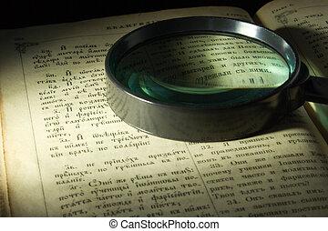 antigas, bíblia, página, lente